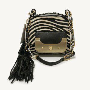 DVF Harper Bon Bon Zebra Print Shoulder Bag